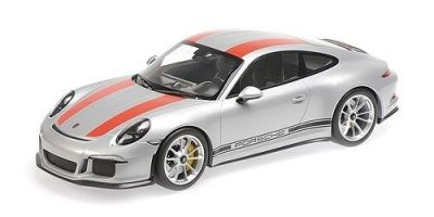 MINICHAMPS 1/12scale Porsche 911 R 2016 Silver / Red Stripe / Black Logo Stripe  [No.125066321]
