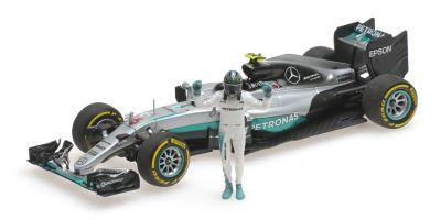 MINICHAMPS 1/43scale MERCEDES AMG PETRONAS F1 TEAM – F1 W07 HYBRID – ROSBERG – WORLD CHAMPION 2016 – W/ FIGURINE  [No.410160806]