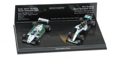MINICHAMPS 1/43scale 2-CAR SET – WILLIAMS FORD FW08 1982/MERCEDES AMG PETRONAS F1 TEAM 2016 – KEKE/NICO ROSBERG  [No.412821601]