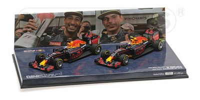 MINICHAMPS 1/43scale 2-CAR SET – RED BULL RACING TAG HEUER RB12 – RICCIARDO/VERSTAPPEN – 1-2 FINISH MALAYSIAN GP 2016  [No.472163303]
