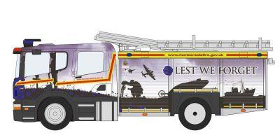 OXFORD 1/76scale Scania Fire & Rescue Pump / Ladder Truck Humberside  [No.OX76SFE011]