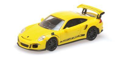 MINICHAMPS 1/87scale PORSCHE 911 GT3 RS – 2013 – YELLOW W/ STRIPES  [No.870063225]