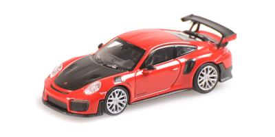 MINICHAMPS 1/87scale Porsche v911 GT2 RS2018 Red / Carbon Bonnet  [No.870068121]