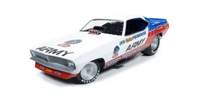 AMERICAN MUSCLE 1/18scale 1973 Plymouth Cuda Don Prudhomme Army  [No.AW1170]