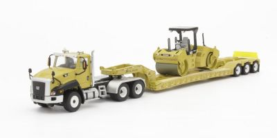 DIECAST MASTERS 1/50scale Cat CT660 Day Cab with XL Lowboy Trailer and CB-534D Compactor  [No.DM85601C]