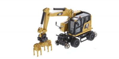 DIECAST MASTERS 1/87scale Cat M323F Railroad Wheel Excavator CAT Yellow with 3 attachments  [No.DM85656]