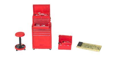 MOTOR HEAD MINIATURES  1/18scale Tire Bridge Shop Tool Set (Red)  [No.FPM189]