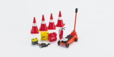 HOBBY GEAR 1/24scale Road side Assistance [ フロアージャッキ、バッテリー、コーン、消化器、冷却材 他 ] [No.HB16052]