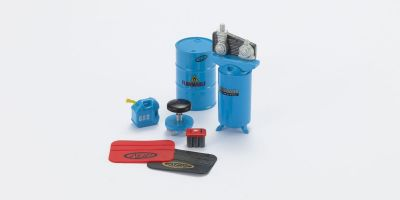 HOBBY GEAR 1/24scale Garage Gear 2 Tall compressor / Fender protectors / 50 gal drum / Stool / Battery / Gas can  [No.HB16055]