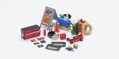 HOBBY GEAR 1/24scale Mobile Mechanic Set [ バッテリー、ガス缶、コーン、コンプレッサー、タイヤ 他 ] [No.HB18415]