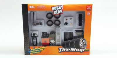 HOBBY GEAR 1/24scale Tire Shop Set (Air Compressor / Tire / Floor jack etc)  [No.HB18422]