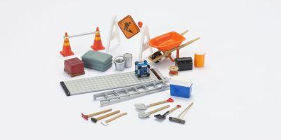 HOBBY GEAR 1/24scale Construction Set [ セメント、トラックランプ、ロードサイン、コーン 他 ] [No.HB18425]