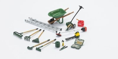 HOBBY GEAR 1/24scale Landscaping Set Ladder / Mower / Shovel / Wheel barrel / Tool box etc  [No.HB18432]