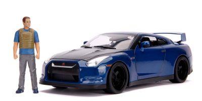 JADA TOYS 1/18scale F & F (7) 2009 Nissan GT-R R35 Blue / Black (Brian) With Brian figure / Light on  [No.JADA31142]