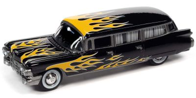 JOHNNY LIGHTNING 1/64scale 1959 Cadillac Ambulance Gross Black / Yellow Frames  [No.JLSF019A4BY]