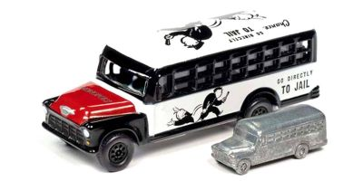 JOHNNY LIGHTNING 1/64scale Monopoly Chevy School Bus (White / Black) with Token (Monopoly Piece)  [No.JLSP092]