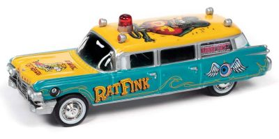 JOHNNY LIGHTNING 1/64scale 1959 Cadillac Hearse Rat Fink Green / Yellow  [No.JLSP143]