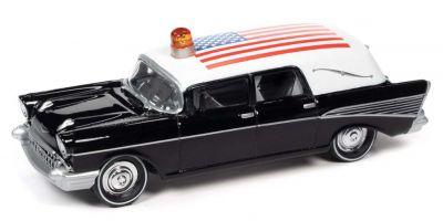 JOHNNY LIGHTNING 1/64scale 1957 Chevy Hearse Black / White / American Flag  [No.JLSP144]