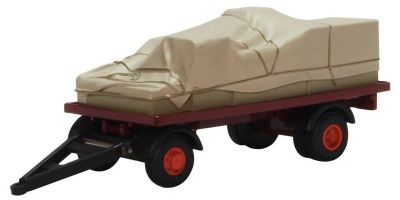 OXFORD 1/76scale Canvassed trailer (traction section only) Maroon / Red  [No.OX76CTR002]