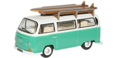 OXFORD 1/76scale VW Minibus (with surfboard) Birch Green white  [No.OX76VW007]