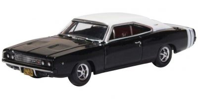 OXFORD 1/87scale Dodge Charger 1968 Black/white  [No.OX87DC68003]