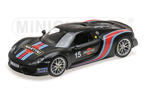 MINICHAMPS 1/18scale PORSCHE 918 SPYDER – 2013 – W/ WEISSACH PACKAGE – MATT BLACK W/ MARTINI STRIPES  [No.110062445]