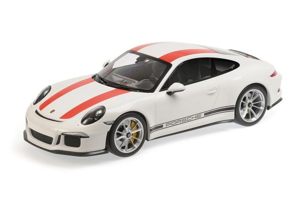 MINICHAMPS 1/12scale Porsche 911 R (2016) White/Red Stripe  [No.125066320]