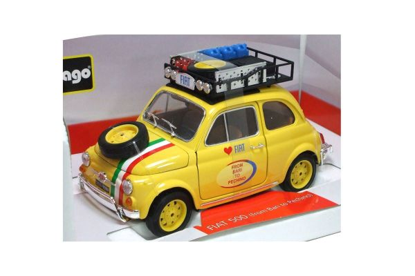 Bburago 1/18scale FIAT 500 FROM BARI TO PECHINO (2005) Yellow [No.18-11024Y]