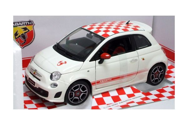 Bburago 1/18scale FIAT 500 ABARTH (2008) White with Checker Roof [No.18-11028W]