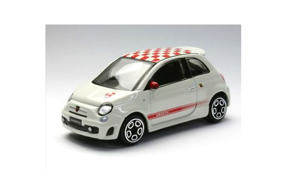 Bburago 1/43scale FIAT 500 ABARTH White with Checker Roof [No.18-30199W]