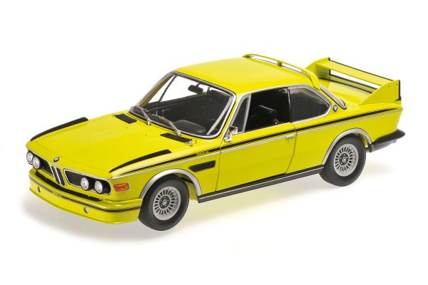 MINICHAMPS 1/18scale BMW 3.0 CSL (E9) COUPÉ – 1972 – YELLOW W/ STRIPES  [No.180029028]