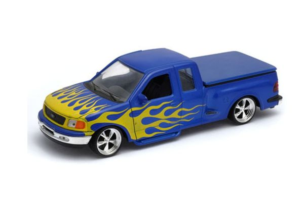 WELLY 1/24scale Ford F-150 FLARESIDE super cab pickup truck 1999 lowrider Blue/Fire pattern  [No.WE29396LBL]