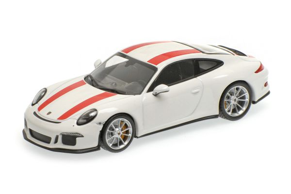 MINICHAMPS 1/43scale PORSCHE 911 R – 2016 – WHITE W/ RED STRIPES [No.410066220]