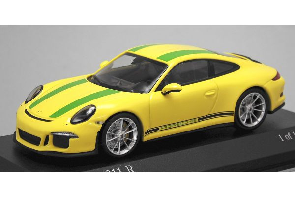 ALMOST REAL 1/43scale Porsche 911R 991 2016 Yellow / Green stripe  [No.413066261]