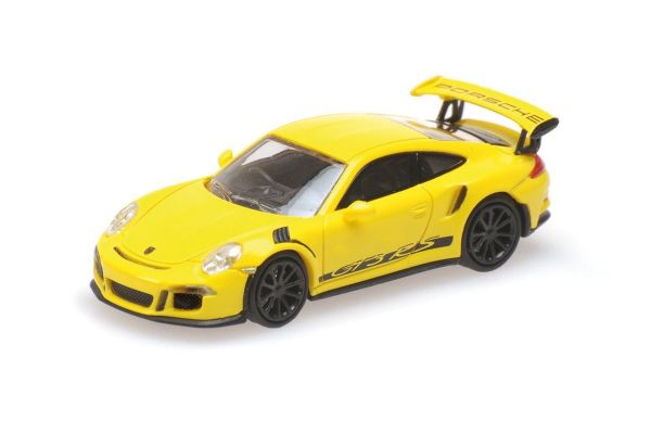 MINICHAMPS 1/87scale PORSCHE 911 GT3 RS – 2013 – YELLOW W/ STRIPES  [No.870063225]