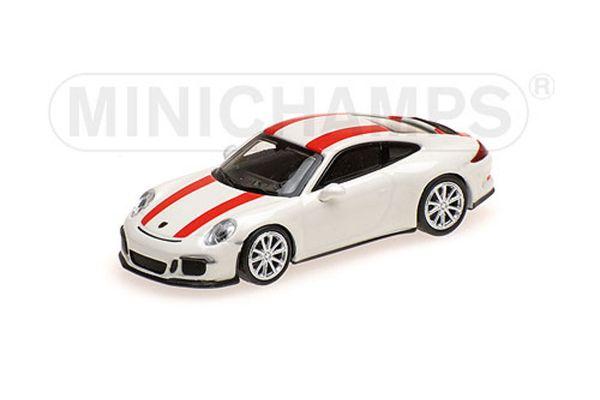 MINICHAMPS 1/87scale PORSCHE 911 R – 2016 – WHITE W/ RED STRIPES  [No.870066220]