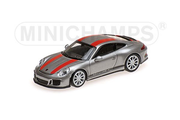 MINICHAMPS 1/87scale PORSCHE 911 R – 2016 – SILVER W/ RED STRIPES AND BLACK WRITING  [No.870066221]