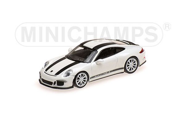 MINICHAMPS 1/87scale PORSCHE 911 R – 2016 – WHITE W/ BLACK STRIPES W/ BLACK WRITING  [No.870066226]