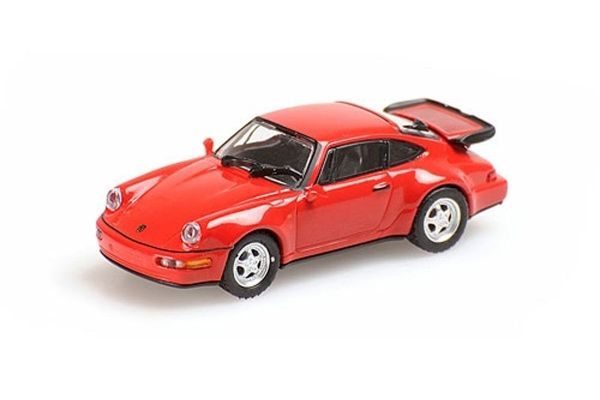 MINICHAMPS 1/87scale PORSCHE 911 TURBO – 1990 – RED  [No.870069100]