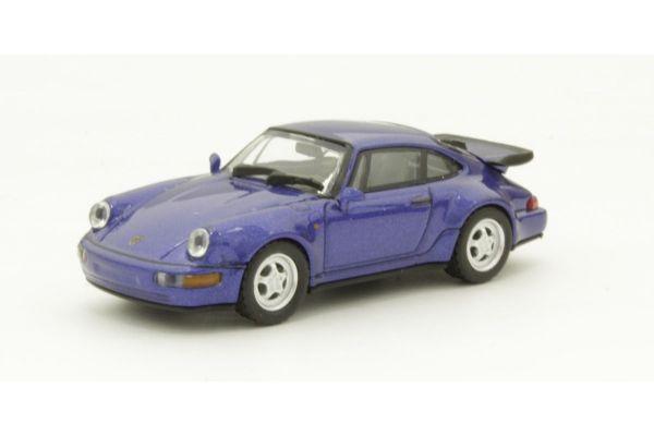 MINICHAMPS 1/87scale PORSCHE 911 TURBO – 1990 – BLUE METALLIC  [No.870069101]