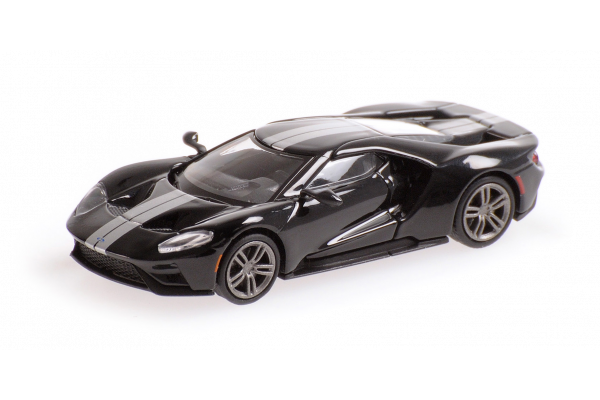 MINICHAMPS 1/87scale Ford GT 2018 Black / Silver Stripe  [No.870088022]