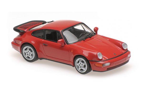MINICHAMPS 1/43scale PORSCHE 911 TURBO (964) – 1990 – RED  [No.940069102]