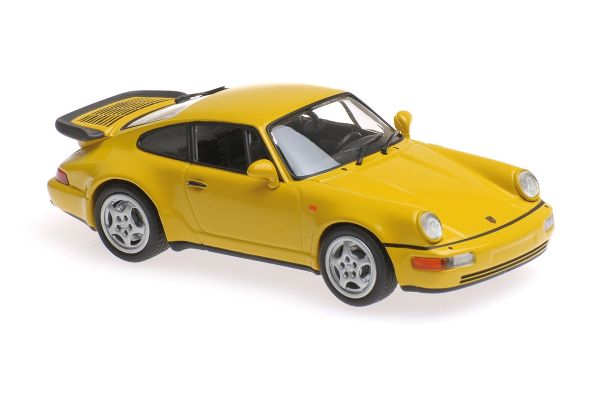 MINICHAMPS 1/43scale PORSCHE 911 TURBO (964) – 1990 – YELLOW  [No.940069104]