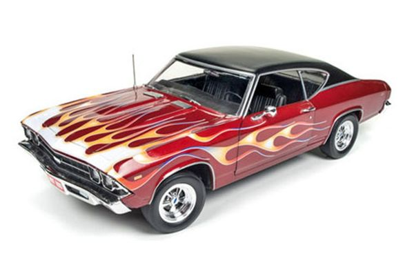 AMERICAN MUSCLE 1/18scale 1969 Chevy Chevelle SS 396 Hot Rod Magazine Maroon / Fire Pattern  [No.AMM1108]