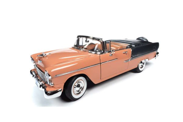 AMERICAN MUSCLE 1/18scale 1955 Chevy Bel Air Convertible Coral / Shadow Gray  [No.AMM1221]