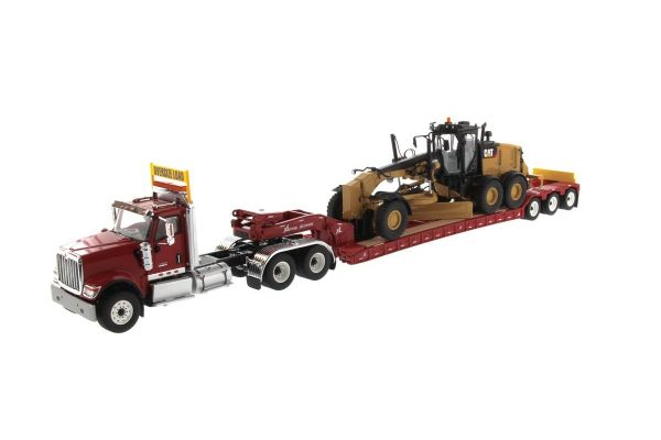 DIECAST MASTERS 1/50scale International HX520 Tandem Tractor + XL 120 Trailer (Red) with Rear Booster + CAT 12M3 Motor Grader (DM85519H) Set  [No.DM85598]