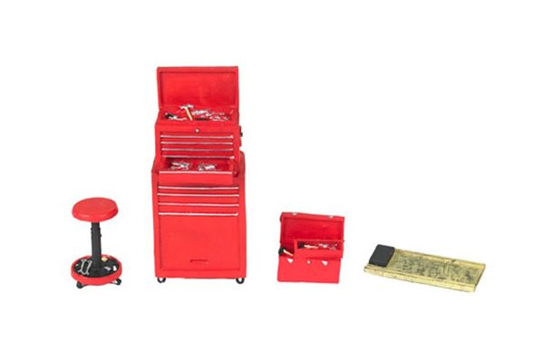 MOTOR HEAD MINIATURES  1/18scale Tire Bridge Shop Tool Set (Red)  [No.FPM189]
