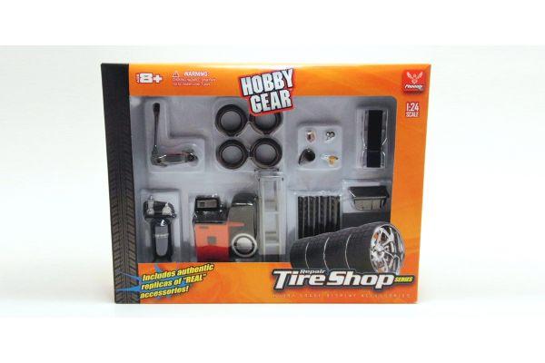 HOBBY GEAR 1/24scale Tire Shop Set (Air Compressor / Tire / Floor jack etc)  [No.HB18422]