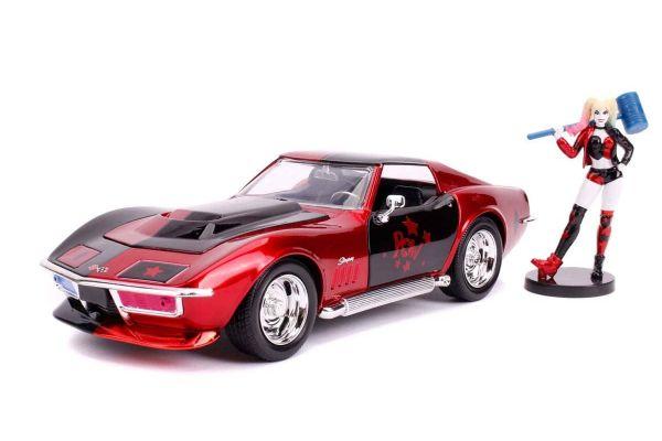 JADA TOYS 1/24scale Corvette Stingray 1969 with Harley Quinn figure (DC Comics Bombshells)  [No.JADA31196]