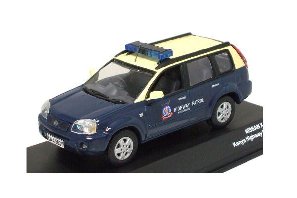 J-COLLECTION 1/43scale NISSAN X-TRAIL Kenya Highway Patrol Police 2004 Blue /Yellow [No.JC35009KE]